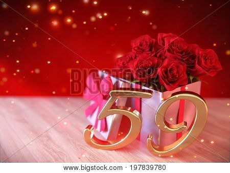 birthday concept with red roses in gift on wooden desk. 3D render - fifty-nineth birthday. 59th
