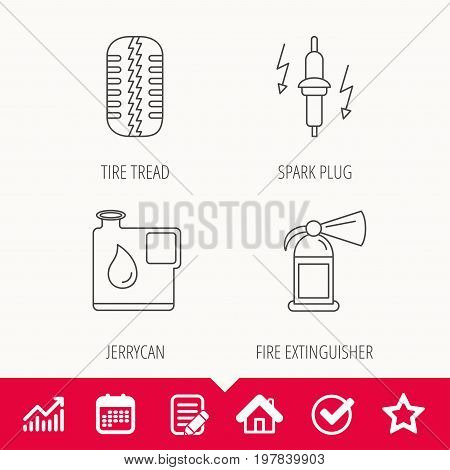 Wheel, fire extinguisher and spark plug icons. Fuel jerrycan, tire tread linear signs. Edit document, Calendar and Graph chart signs. Star, Check and House web icons. Vector