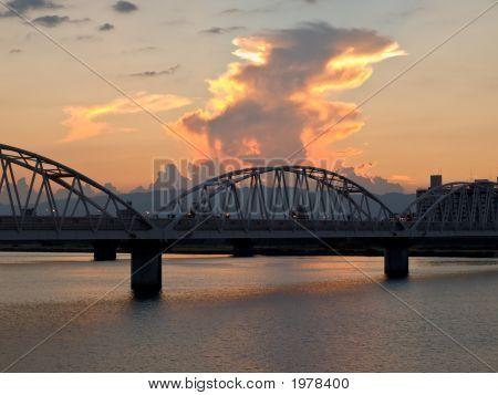 Osaka River At Dusk