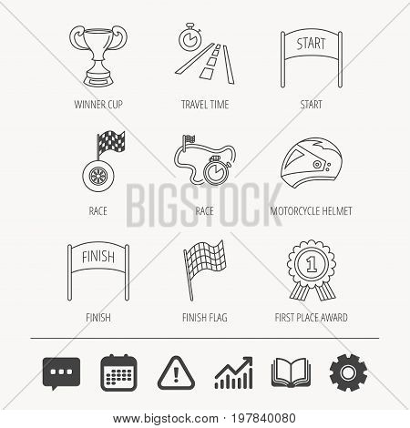 Winner cup and award icons. Race flag, motorcycle helmet and timer linear signs. Road travel, finish and start flat line icons. Education book, Graph chart and Chat signs. Vector