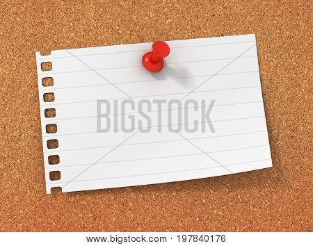 Blank Paper Note On Bulletin Board 3D Illustration