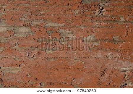 Texture background close-up wood is painted with brown paint old paint old wood paint has disappeared in some places