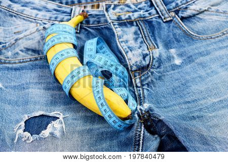 Health And Male Sexuality Concept: Jeans With Banana On Them