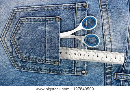 Tailoring And Design Concept: Scissors, Ruler And Measure Tape