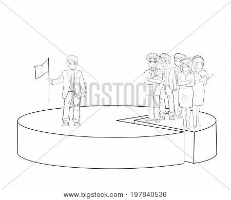 Hard work in business is shown in the diagram. Percentage of people. teamwork. vector illustration.
