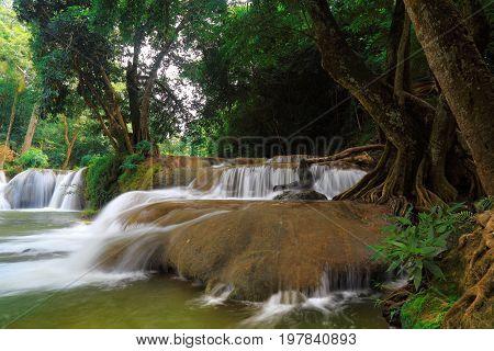 Chet Sao Noi waterfall in the rain forest at Namtok Chet Sao Noi National Park Saraburi provinces Thailand.
