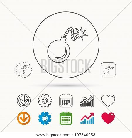 Retro bomb icon. Boom explode sign. Calendar, Graph chart and Cogwheel signs. Download and Heart love linear web icons. Vector