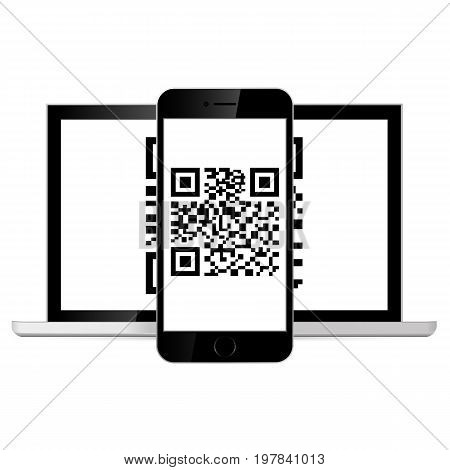 Phone scanned QR code. isolated on white background. Vector illustration. Eps 10.