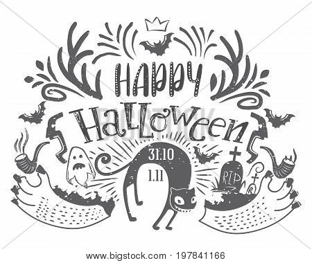 Happy Halloween lettering greeting card with Horns, ghost, wild cat, grave. Hand drawn typography for horror holiday