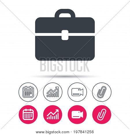 Briefcase icon. Diplomat handbag symbol. Business case sign. Statistics chart, calendar and video camera signs. Attachment clip web icons. Vector