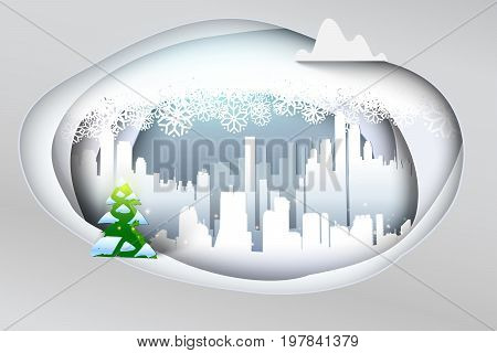 Paper art Winter Snow Urban Countryside Landscape with Christmas evergreen tree. Paper cut layers with cloud of snowflakes. Snowy cityscape banner. Paper design of Holidays urban scene