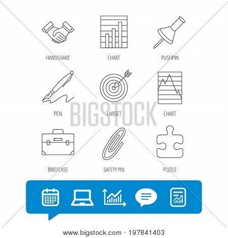 Handshake, graph charts and target icons. Puzzle, pushpin and safety pin linear signs. Briefcase and pen flat line icons. Report file, Graph chart and Chat speech bubble signs. Vector