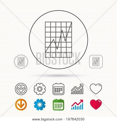 Chart curve icon. Graph diagram sign. Demand growth symbol. Calendar, Graph chart and Cogwheel signs. Download and Heart love linear web icons. Vector