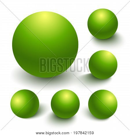 Set of green spheres, matte finish ball with differnt light effects and shadowsisolated on a white background for design elements