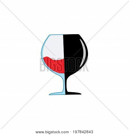 Red wine in goblet on white background. Illustration wineglass for celebration and alcohol. Rounded shape tumbler. Glass for cognac brandyliquor bordeaux. Design flat element. Vector illustration
