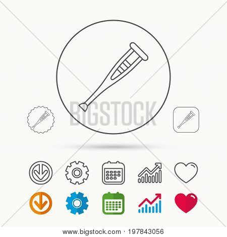 Crutch icon. Orthopedic therapy sign. Medical care equipment symbol. Calendar, Graph chart and Cogwheel signs. Download and Heart love linear web icons. Vector