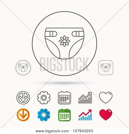 Diaper with flower icon. Child underwear sign. Newborn protection symbol. Calendar, Graph chart and Cogwheel signs. Download and Heart love linear web icons. Vector