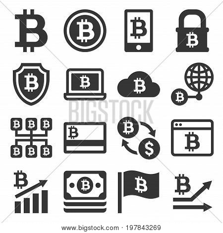 Bitcoin Icons Set on White Background. Vector
