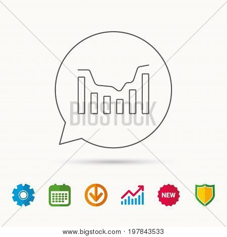 Dynamics icon. Statistic chart sign. Growth infochart symbol. Calendar, Graph chart and Cogwheel signs. Download and Shield web icons. Vector