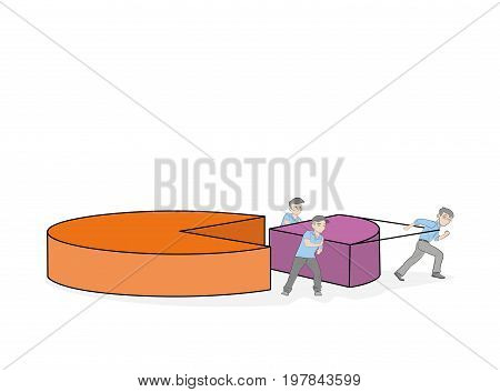 Little people are dragging a piece of chart. teamwork. vector illustration.
