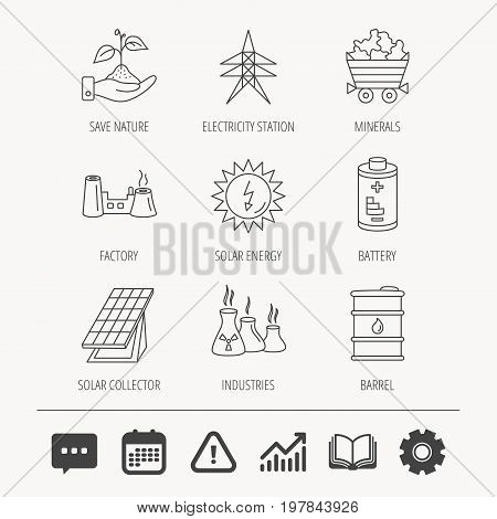 Solar collector energy, battery and oil barrel icons. Minerals, electricity station and factory linear signs. Industries, save nature icons. Education book, Graph chart and Chat signs. Vector