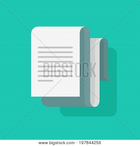 Big document roll with text vector illustration isolated, flat cartoon long paper sheet doc, idea of new message or notification, letter