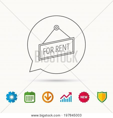 For rent icon. Advertising banner tag sign. Calendar, Graph chart and Cogwheel signs. Download and Shield web icons. Vector
