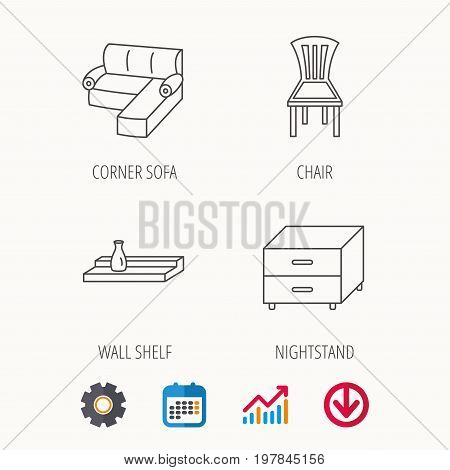 Corner sofa, nightstand and chair icons. Wall shelf linear sign. Calendar, Graph chart and Cogwheel signs. Download colored web icon. Vector