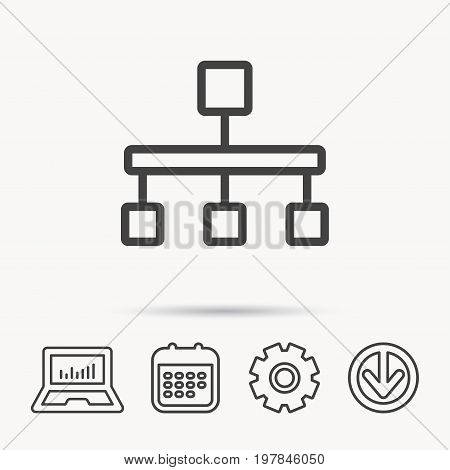 Hierarchy icon. Organization chart sign. Database symbol. Notebook, Calendar and Cogwheel signs. Download arrow web icon. Vector