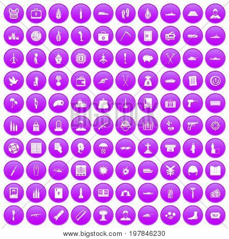 100 war crimes icons set in purple circle isolated on white vector illustration
