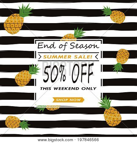 Summer sale vector background with pineapples. Template for advertisement.