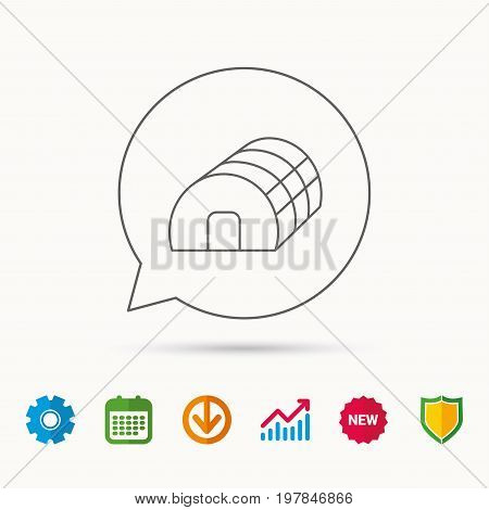 Greenhouse complex icon. Hothouse building sign. Warm house symbol. Calendar, Graph chart and Cogwheel signs. Download and Shield web icons. Vector