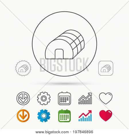 Greenhouse complex icon. Hothouse building sign. Warm house symbol. Calendar, Graph chart and Cogwheel signs. Download and Heart love linear web icons. Vector