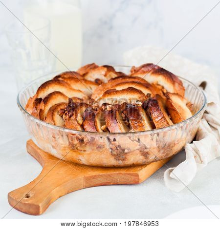 Walnut Bread And Butter Pudding