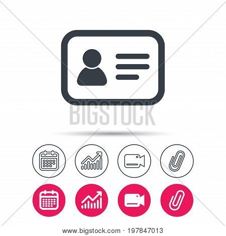 ID card icon. Personal identification document symbol. Statistics chart, calendar and video camera signs. Attachment clip web icons. Vector
