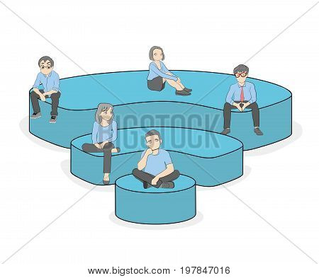 Little people are sitting on the wi-fi icon. The concept of modern youth communication. vector illustration.
