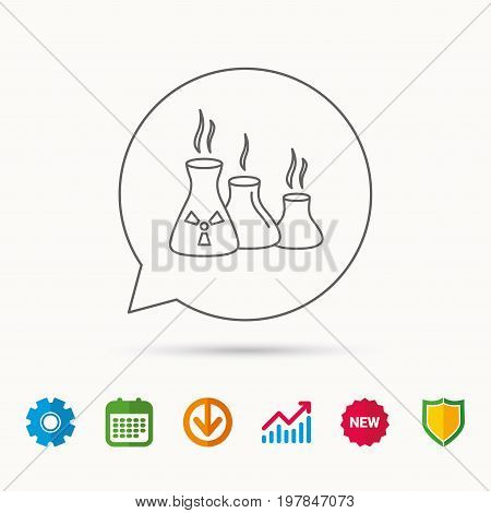 Industry building icon. Manufacturing sign. Chemical toxic production symbol. Calendar, Graph chart and Cogwheel signs. Download and Shield web icons. Vector