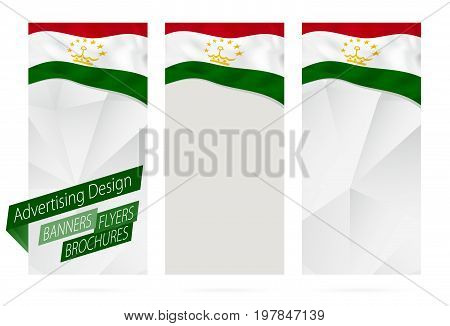 Design Of Banners, Flyers, Brochures With Flag Of Tajikistan.