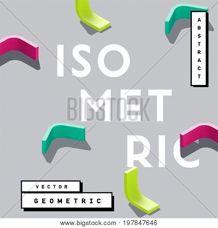 Abstract 3D geometric vector shapes. Isometric spatial elements for poster banner or book cover.