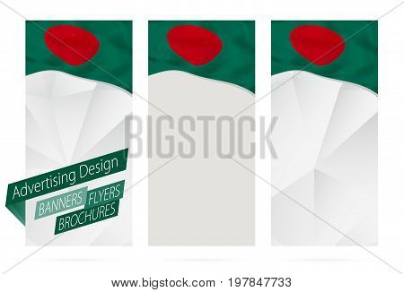 Design Of Banners, Flyers, Brochures With Flag Of Bangladesh.