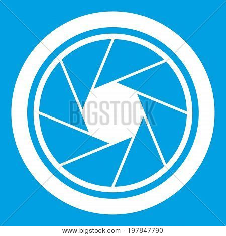Photographic objective icon white isolated on blue background vector illustration