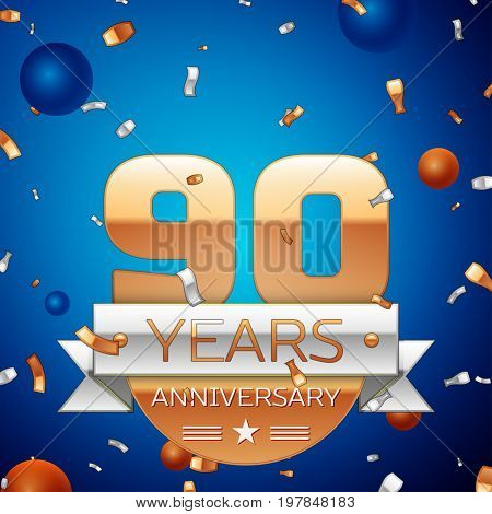 Realistic Ninety Years Anniversary Celebration Design. Golden numbers and silver ribbon, confetti on blue background. Colorful Vector template elements for your birthday party