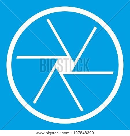 Round objective icon white isolated on blue background vector illustration