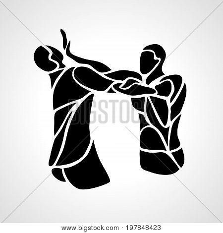 Fighters of krav maga. Sport club emblem. Streetfighters. Vector illustration