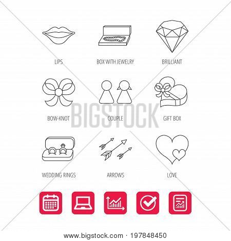 Love heart, gift box and wedding rings icons. Kiss lips and couple linear signs. Valentine amour arrows, brilliant flat line icons. Report document, Graph chart and Calendar signs. Vector