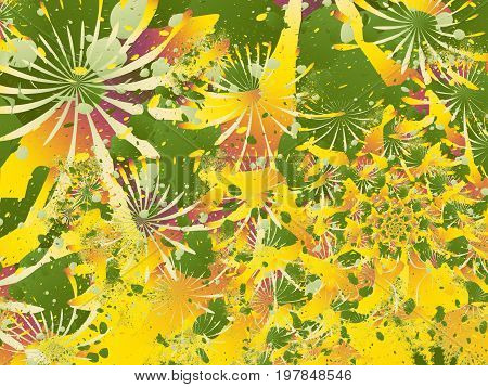 Colorful abstract fractal with splotches resembling chrysanthemums or other flowers arranged in a spiral. For decorative prints book covers banners skins leaflets pamphlets stationery etc.