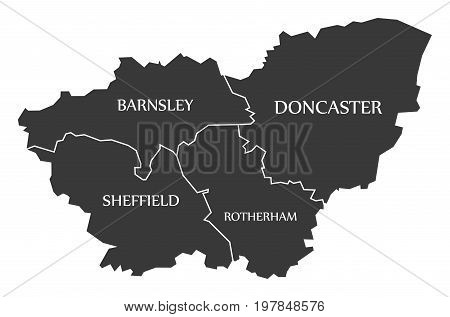 South Yorkshire Metropolitan County England Uk Black Map With White Labels Illustration