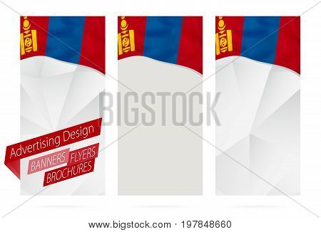 Design Of Banners, Flyers, Brochures With Flag Of Mongolia.