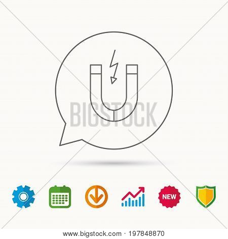 Magnet icon. Magnetic power sign. Physics symbol. Calendar, Graph chart and Cogwheel signs. Download and Shield web icons. Vector