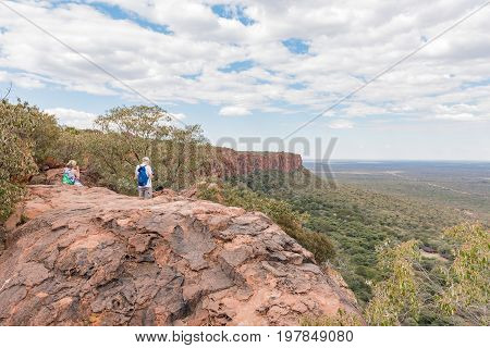WATERBERG PLATEAU NATIONAL PARK NAMIBIA - JUNE 19 2017: Unidentified tourists at the top of the Waterberg Plateau near Otjiwarongo in the Otjozondjupa Region of Namibia